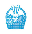 cute easter bunny basket egg decorate vector image vector image