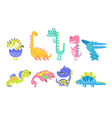 cute funny dinosaurs collection prehistoric vector image