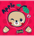 cute teddy bear cartoon with big apple vector image
