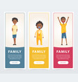 family banners set black happy children flat vector image vector image