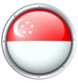 flag of singapore in round frame vector image vector image