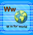 flashcard letter w is for world vector image