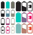 Flat Design Black Battery Life Icons Set vector image vector image
