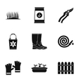 Gardening icons set simple style vector image vector image
