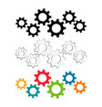 gears machinery pieces set in different colors vector image