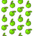 green apples seamless pattern on white background vector image