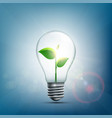 green plant with leaves inside the electric bulb vector image