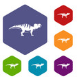 hadrosaurid dinosaur icons set hexagon vector image