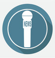 icon news microphone on white circle with a long vector image