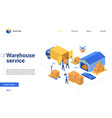 isometric warehouse delivery logistic service vector image vector image