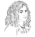 lady with curly hair vector image vector image