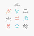 line icons of candy products from cake and sweets vector image