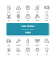 line icons set beer vector image vector image
