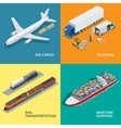 Logistic realistic icons set of air cargo vector image