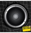 Loudspeaker on grunge background with warning sign vector image vector image