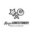 magic confectionery store logo design vector image