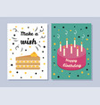 make a wish and happy birthday two bright banners vector image vector image