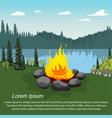 orange campfire beautiful lake in evening vector image vector image
