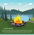orange campfire by beautiful lake in evening vector image vector image