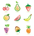 organic fruits icons set organic food concept vector image vector image