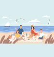 picnic at beach group friends chill and eat vector image vector image