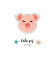 pig icon piglet patch cute piggy funny pink vector image