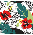 red poppies and leaves against abstract background vector image vector image