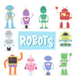 robots and transformer androids retro cartoon toys vector image vector image