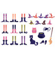 set halloween icons witch magical tools flat vector image vector image