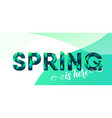 spring green letter with leaves background vector image vector image