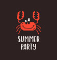 summer party emblem template on black vector image vector image