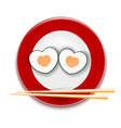 sushi with salmon in form a heart on a red vector image vector image