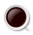 top view of mug with coffe on white background vector image vector image