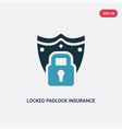 two color locked padlock insurance icon from vector image vector image