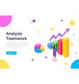 web site on topic teamwork analysis girl while vector image vector image
