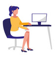 young woman in the office working vector image
