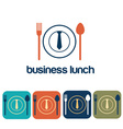 business lunch and icon set flat design vector image
