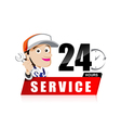 Smile mechanic man with tool in hand service 24 vector image