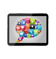 Glass Button Icon Set Speech Bubble on Tablet PC vector image