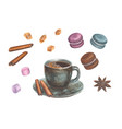 watercolor with coffee set vector image