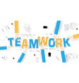 business hands holding teamwork word on desk vector image
