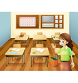 A teacher inside the classroom vector image