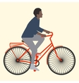 A woman rides on an orange bike with luggage flat vector image vector image