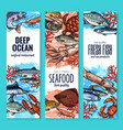 banners of seafood fish products sketch vector image vector image