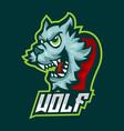 blue wolf e sports logo gaming mascot vector image vector image