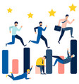 business people running on bar chart can use vector image