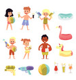 children characters on pool party or beach flat vector image vector image