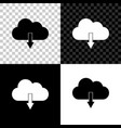cloud download icon isolated on black white and vector image vector image