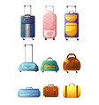 collection of modern and retro suitcases traveler vector image vector image