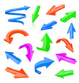 colored 3d shiny arrows vector image vector image